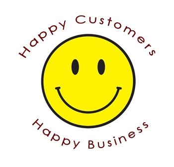 Smiley with Happy Customers and Happy Business Text