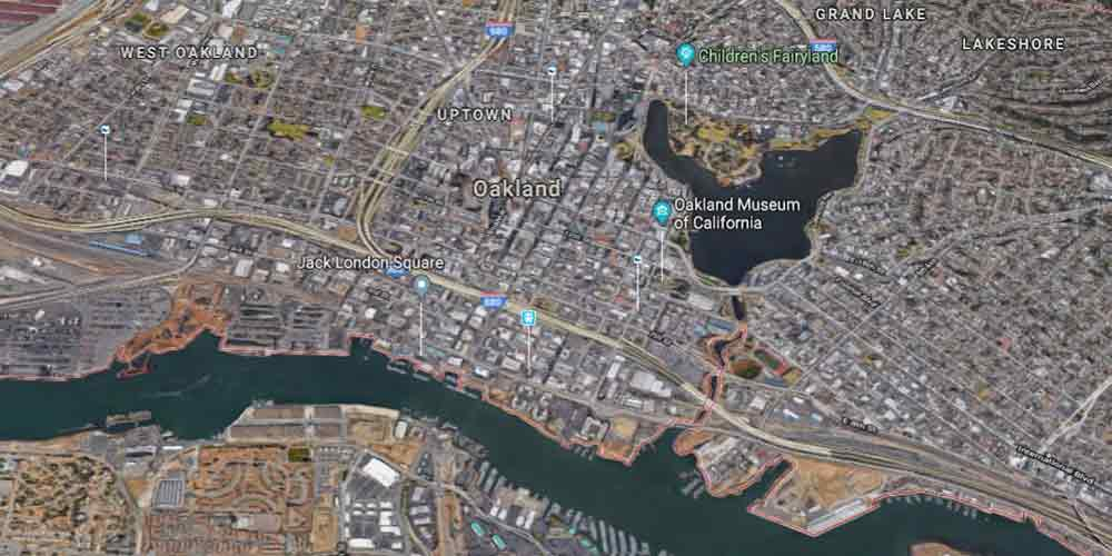 Google aerial map of Oakland | Oakland Towing Service | https://www.sfcitytowing.com