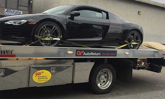 Audi R8 flatbed tow truck | San Francisco Bay Area Towing